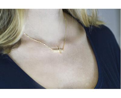 Pozlacený stříbrný náhrdelník s křížkem AGS196/47-GOLD