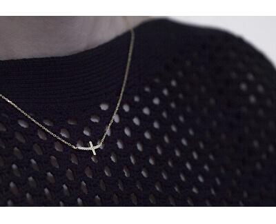 Pozlacený stříbrný náhrdelník s křížkem AGS546/47-GOLD