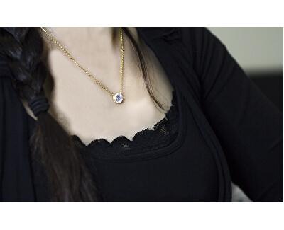 Pozlacený stříbrný náhrdelník s krystaly AGS1135/47-GOLD