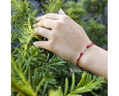 Šňůrkový červený kabala náramek Nekonečno AGB383