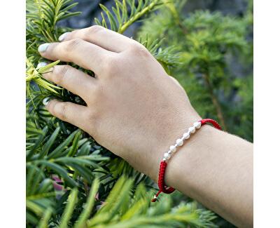 Šňůrkový červený kabala náramek s pravými perlami AGB549
