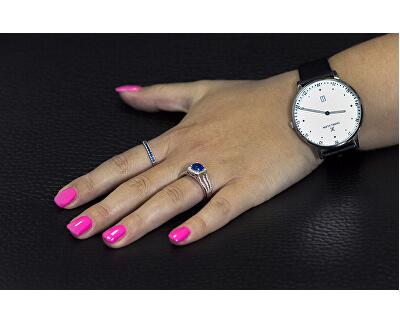 Stříbrný prsten s modrým krystalem AGG326