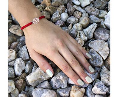 Stylový červený šňůrkový kabala náramek Strom života AGB544