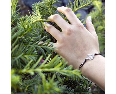 Stylový černý šňůrkový kabala náramek Mandala AGB560