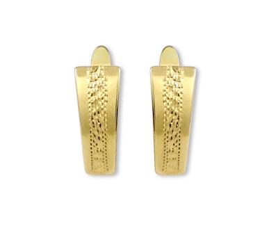 Cercei din aur cu gravură decorativă 231 001 00593