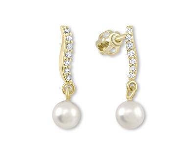 Náušnice ze žlutého zlata s krystaly a perlou 235 001 00404