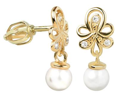Brilio Náušnice ze žlutého zlata s krystaly a perlou 235 001 00408 - 2,00 g