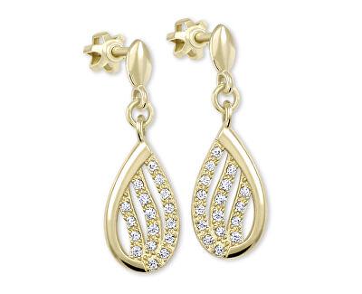 Třpytivé náušnice ze žlutého zlata s krystaly 239 001 00875