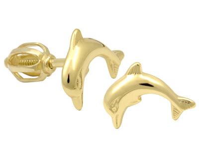 Brilio Zlaté dámské náušnice delfínci 231 001 00519 - 1,10 g