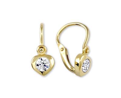 Zlaté dětské náušnice Srdíčka s krystaly 236 001 00675