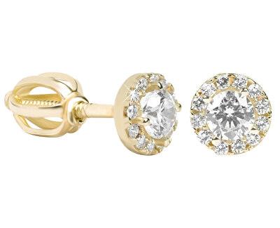 Cercei rotunzi din aur cu cristale clare 239 001 00806