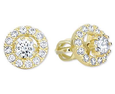 Zlaté kulaté náušnice s čirými krystaly 2v1 239 001 00860