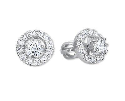 Kulaté náušnice z bílého zlata s krystaly 2v1 239 001 00860 07