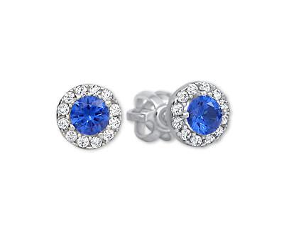 Zlaté kulaté náušnice s modrým krystalem 239 001 00806 07