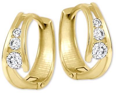 Zlaté náušnice kroužky s krystaly 239 001 00800