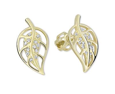 Zlaté náušnice lístečky s krystaly 239 001 00890