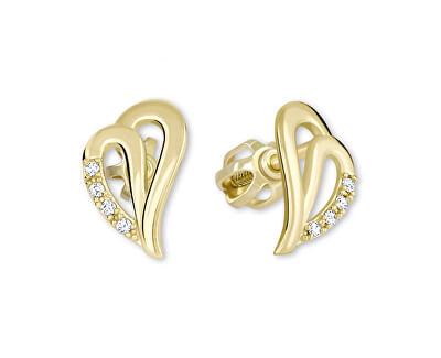 Cercei din aur cu inimă cu cristale 239 001 00738