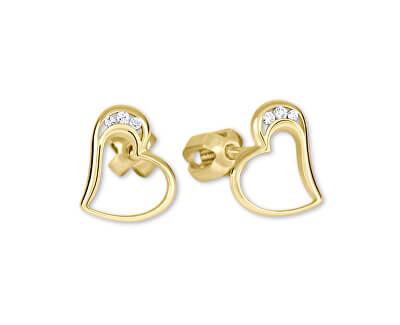 Zlaté náušnice srdce s krystaly 239 001 00772