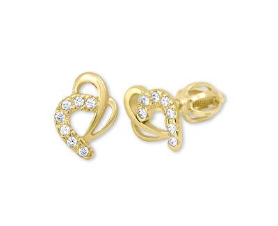 Cercei de aur de inima cu cristale 239001 00583