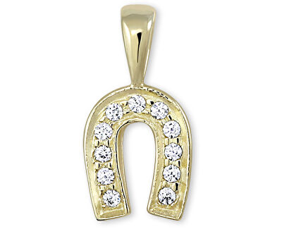 Zlatý přívěsek podkova s krystaly 249 001 00107 - 0,75 g