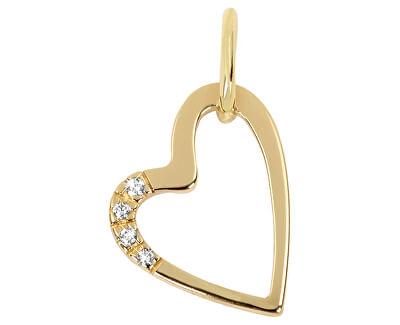 Zlatý prívesok srdce s kryštálmi 249 001 00429