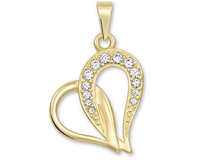 Zlatý přívěsek srdce s krystaly 249 001 00472
