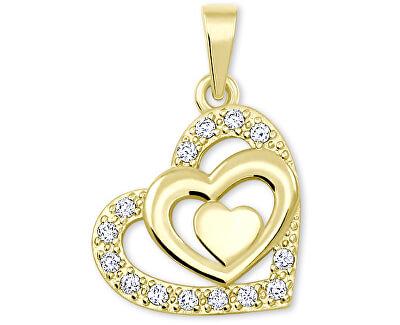 Zlatý srdíčkový přívěsek s krystaly 249 001 00556