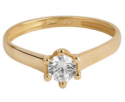 Brilio Zlatý zásnubní prsten s čirým krystalem 226 001 00927