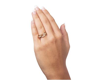 Inel de aur galben pentru femei cu cristale 229 001 00805