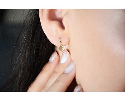 Cercei de aur în formă de inimă cu cristale 239 001 00880