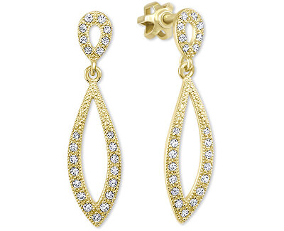 Cercei din aur pentru femei cu cristale clare 239 001 00876