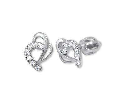 Brilio Náušnice z bílého zlata Srdce s krystaly 239 001 00583 07 - 1,35 g