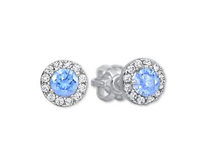 Zlaté kulaté náušnice se světle modrým krystalem 239 001 00806 07