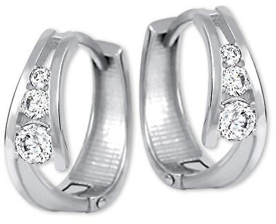 Zlaté náušnice kroužky s krystaly 239 001 00800 07