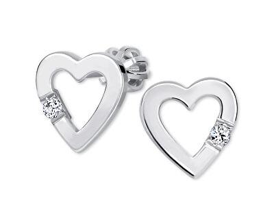 Srdíčkové náušnice s krystalem 436 001 00418 04