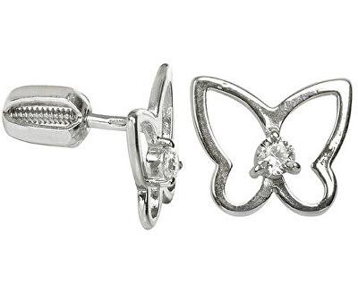 Stříbrné náušnice Motýl s čirým krystalem 436 001 00385 04