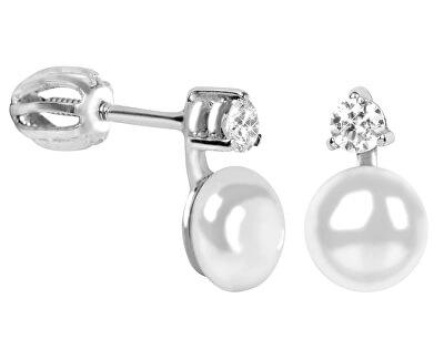 Brilio Silver Stříbrné náušnice se syntetickou perlou a krystalem 435 001 00025 04 - 1,67 g