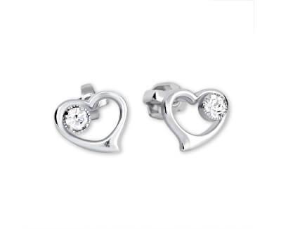 Stříbrné náušnice Srdce s krystalem 438 001 00931 04