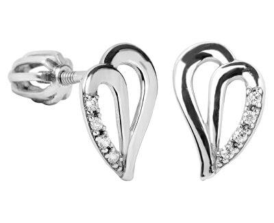 Stříbrné náušnice srdce s krystaly 436 001 00387 04
