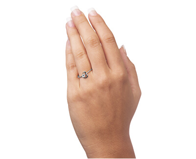 Stříbrný zásnubní prsten s krystalem Srdce 426 001 00535 04