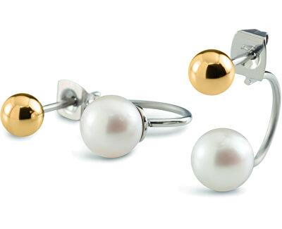 Dvojité titanové náušnice s perličkami 05019-02