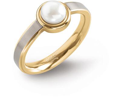 Pozlacený titanový prsten s perlou 0137-03