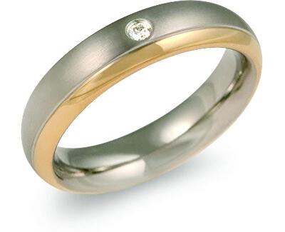 Pozlacený titanový snubní prsten s diamantem 0130-12