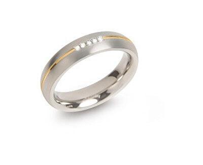 Aranyozott titán jegygyűrű gyémántokkal 0130-04 - KEDVEZMÉNY
