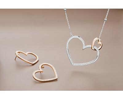 Oceľový bicolor náhrdelník so srdiečkami Minuetto BMU01