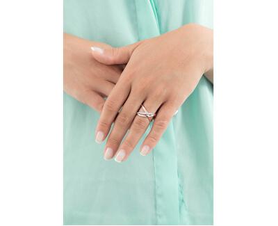 Otvorený bicolor prsteň so zirkónmi Ribbon BBN32