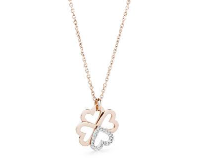 Oceľový bicolor náhrdelník so štvorlístkom C-lover BOV04 (retiazka, prívesok)