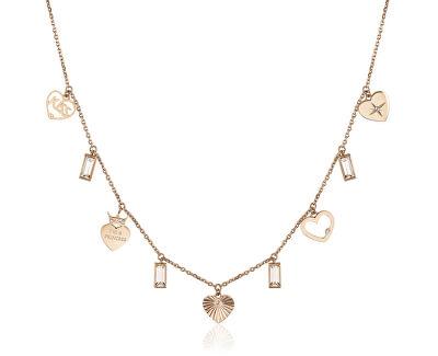Růžově pozlacený ocelový náhrdelník s přívěsky Chant BAH08