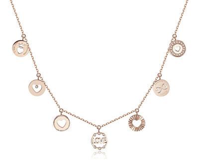 Růžově pozlacený ocelový náhrdelník s přívěsky Chant BAH09