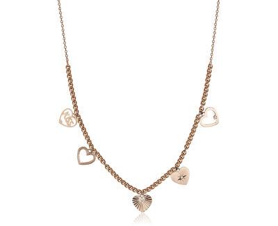 Růžově pozlacený ocelový náhrdelník s přívěsky Chant BAH10